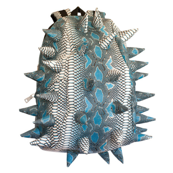 White and Light Blue Scales Spiketus Rex Pactor Backpack (Achilles' Teal)